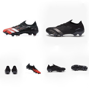 ingrosso tacchetti da calcio rossi e bianchi -Predator modificatori Scarpe Low FG Nucleo di calcio Nero Bianco Active Red Football Cleats dell ombra DEMONSKIN Triple Nero