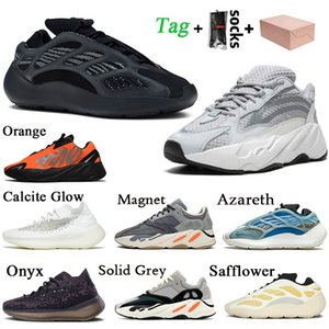 Wholesale table tops resale online - With Box Top Quality Kanye West Women Mens Running Shoes Calcite Glow Onyx Solid Grey Static Reflective Azael Trainers Sneakers