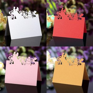 Wholesale love seats resale online - Hollowed Lace Card Wedding Party Decorations Table Cards Love Heart Gift Seat Cards Beautiful Desk Blank Name ym G2