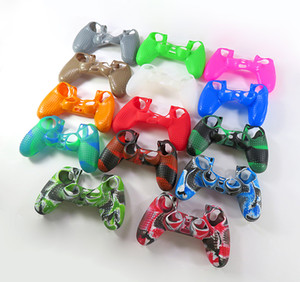 Wholesale ps4 silicone camouflage resale online - Camouflage Handle Sleeve Silicone Case Dustproof Skin Protective Cover Anti Slip for Play Station PS4 Controller Game Thumb Sticks camo case