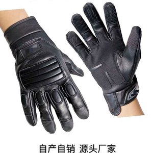 Wholesale security finger resale online - Leather tactical full finger army fan mounted police command security guard on duty patrol climbing sliding rope landing gloves