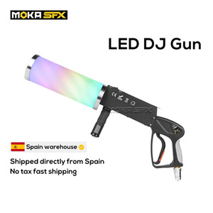 armas co2 venda por atacado-Espanha Stock Portátil LED Co2 Jet Machine DJ Gun Efeitos Especiais Club Cannon RGB Color Fogger Para Disco Stage Light