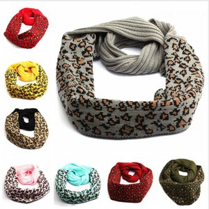 Wholesale leopard print cotton scarves resale online - 9 Styles Knitted Leopard Scarf Woman Wool Autumn Winter Warm Knitting Scarves Crochet Neck Gaiter Fashion Printed Neckerchief LJJP595