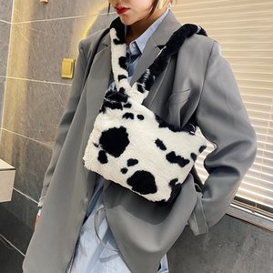 Wholesale plush animal handbags for sale - Group buy Autumn Winter Fashion Shoulder Bag Female Plush Handbag Totes Animal Pattern Soft Fluffy Crossbody Messenger Pouch C1223