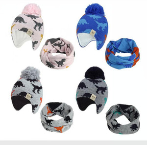 Wholesale baby hat bonnet resale online - 2020 Knitted Baby Ear Hats With Scarf Newborn Winter Beanie Warm Caps Set Soft Hat Child Girls Boys Bonnet Infant Hat DDA629