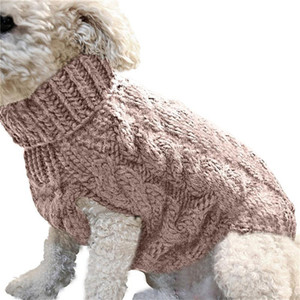 hündchen kostüme großhandel-Twist Stricking Pet Hunde Winter Pullover Warm Häkeln Pullover Cartoon Doggy Outdoor Walk Sport Hoodies Turtscheck Insgesamt Kostüm LY1029