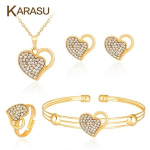 ingrosso anelli di matrimoni set-Hollow Love Heart Gold Color Strass Donne Collana Orecchini Anello Braccialetto Braccialetto Fashion Bridal Weddings Set di gioielli