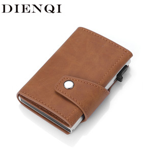 Wholesale leather walet for sale - Group buy Dienqi Genuine Leather Men s Wallet Rfid Business Card Holder Hasp Bifold Slim Mini Wallet Male Magic Smart Wallet Walet Brown C1223