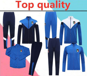 Wholesale italy soccer tracksuit resale online - 2020 Italy VERRATTI JORGINHO soccer jacket tracksuit BELOTTI long zipper training suit jacket sets