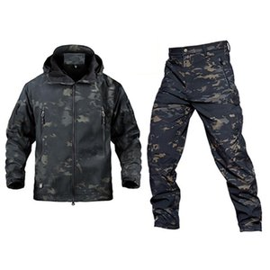 Wholesale waterproof hunting suit for sale - Group buy Outdoor Tactical Jacket Men TAD Softshell Fleece Camouflage Waterproof Jacket Pants Camping Hiking Hunting Sport Suit