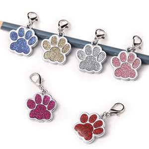 ingrosso collare cane id-Personale bello Dog Tags inciso Dog Pet ID Nome collare Tag Pendant Pet Accessories zampa glitter personalizzata Dog Collar Tag DHD2541