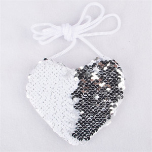 Wholesale mini handbags designer kids resale online - Sequins Heart Handbag Colors Kids Loving Shoulder Coin Bag Baby Girls Mini Messenger Bag Cartoon Coin Purse Party Favor OOA748 J2