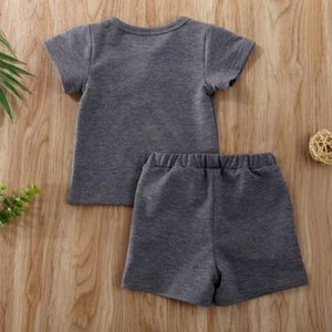 Wholesale baby boy t shirts infant resale online - Newborn Baby Girls Boys Clothes Ribbed Cotton Casual Short Sleeve Tops T shirt Shorts Toddler Infant Fashion Summer Outfit Set SEA GWC5960