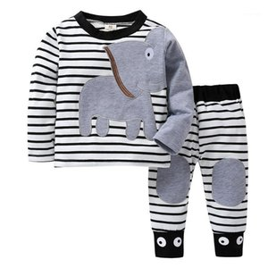 Wholesale newborn boys outfits resale online - Newborn Baby Boys Long Sleeved Clothing Set Elephant Striped Print T Shirt Tops Pant Outfits Suit Infant Baby Cotton Outfit1