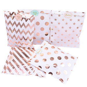 Wholesale pack safe resale online - 25pcs pack cm Gift Bags Paper Pouch Rose Gold Paper Food Safe Bags Birthday Wedding Party Favors Gift Bags Packing For Guests p2