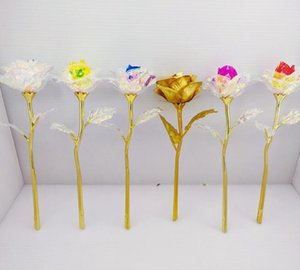 Wholesale colored roses for sale - Group buy 24k Gold Foil Plated Rose Creative Lasts Forever Rose Flower for Lover s Wedding Christmas Decorations Valentine e s Day Gifts GGA3768