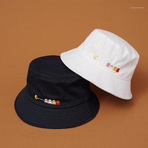 Wholesale ghost movies resale online - PIXELS Movie Pacman Ghost Bucket Hats Outdoor Embroidered Cap Summer Travel Sun Hat1