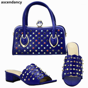Wholesale african shoes and bags set resale online - Ladies Italian Shoes and Bag Set Decorated with Rhinestone African Women Shoes Bags Set for Party Women Bag and Italy1