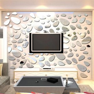 Wholesale three piece wall mirror for sale - Group buy Hot Acrylic Mirror Wall Stickers Multicolor Cobblestone Three dimensional Decal Mosaic Mirror Effect Livingroom Home Decor1