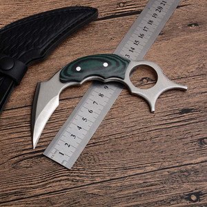 High Quality New Karambit 440C Satin Blade Full Tang Micarta Handle Fixed Blade Claw Knives Tactical Knife With Leather Sheath