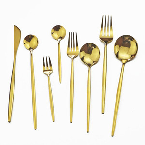 Wholesale gold silverware for sale - Group buy Mirror Gold Cutlery Set Stainless Steel Knife Fruit Fork Ice Cream Spoon Silverware Set Dinnerware Kitchen Flatwareset