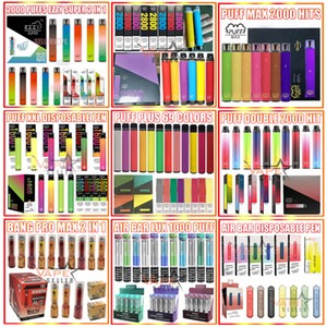 Disposable Vape Pen E Cigarette Bang XXL Puff Bar Plus Max Flex AirBar Lux EXTRA 800 1000 1500 1600 2000 2200 Puffs Ezzy Super Starter Kit