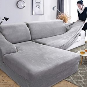 Wholesale sofa slipcovers resale online - Velvet Plush L Shaped Sofa Cover for Living Room Elastic Furniture Couch Slipcover Chaise Longue Corner Sofa Cover Stretch