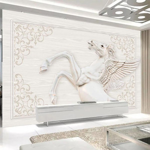 Wholesale 3d horse paintings resale online - Custom Mural Wallpaper D European Style Pattern Horse Wall Painting Living Room TV Sofa Home Decor Background Wall Paper For D