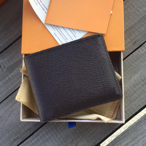 Wholesale new korean small bag man for sale - Group buy New Paris Plaid Style Mens Wallet Fashion Men purse Special Canvas Multiple Short Small Bifold Wallet With Box and dust bag colors