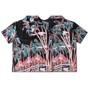 Wholesale tree man for sale - Group buy Europe Spring Summer Men Plants haiwaii tree beach Short Sleeve shirt Cool Hip hop Shirt Designer Tee