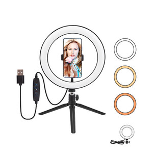 Wholesale lamps stands resale online - 6inch cm Mini LED Desktop Video Ring Light Selfie Lamp With Tripod Stand USB Plug For YouTube Live Photo Photography Studio