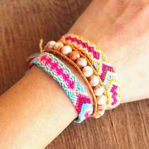 Wholesale lucky charm stone bracelets resale online - 3pcs set mm Stone Strand Beaded Charms Bracelet Lucky Bohemia Leather Bracelet Set for Women Boho Party Gift Handmade Jewelry