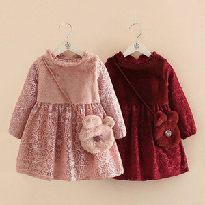 Wholesale cute teenage dresses resale online - Winter Years Teenage Cute Chirstmas Gift Embroidery Kids Baby Girls Lace Thickening Princess Dress With Bag