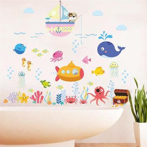 Wholesale underwater wall murals for sale - Group buy Cartoon Underwater Fish Bubble Wall Stickers For Kids Rooms Bathroom Nursery Home Decor Pvc Wall Decals Diy Mural Art