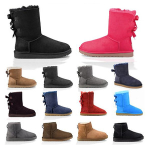 Wholesale australian gold black resale online - 2020 New fahsion women boots snow winter boots australian satin boot ankle booties fur leather designer outdoors shoes size BWgK