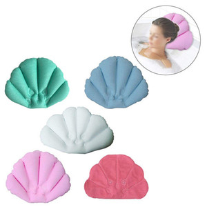Wholesale bath pillows resale online - PVC Soft Bath Pillow Home Comfortable Spa Inflatable Shell Shaped Bathtub Neck Cushion Bathroom Accessories WB2926