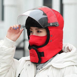 Wholesale ski mask thick resale online - Winter Trapper Hat Windproof Cycling Hood Hats Velvet Thick Warm Facial Protection With Ear Flaps Mask Outdoor Ski Cap SEA SHIPPING LJJP651