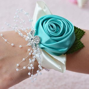 Wholesale artificial flower bracelets resale online - Bracelets for Women Artificial Hand Flowers Wrist Flowers Wedding Dancing Party Decor Charm Bracelet1