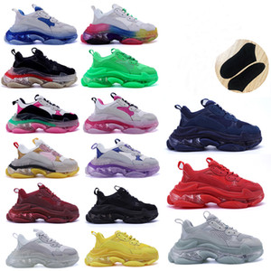 sapatos balenciaga venda por atacado-2020 Designer Triple S Shoes Clear Bubble Midsole Men Triple S Sneakers Increasing Leather Dad sapatos balenciaga balenciaca balanciaga