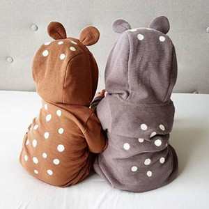 boy cartoon sika deer robe with zipper newborn crawler girl jumpsuit Baby clothes 201105