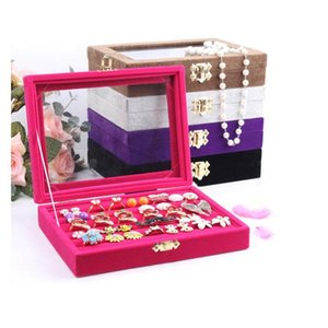 Wholesale glass displays cases for sale - Group buy Quality Jewelry Tray With Glass Lid Ring Holder Earring Tray Jewelry Display Storage Box Jewelry Cases Ozayk