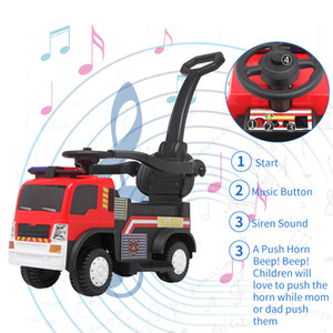 Wholesale toys ride ons resale online - New Kids ride on fire truck with music function and push handle Child Toy Car Gifts