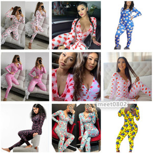 34 colors Women Nightwear Playsuit Workout Button Skinny Hot Print long sleeve Jumpsuits V-neck Onesies Women Rompers S-XXL