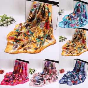 Wholesale winter head scarves women resale online - Men Women All match Neck Tie Head Wraps Square Scarf Shawls Silk Feel Satin Women Scarves x90cm New Autumn Winter Bandanna1