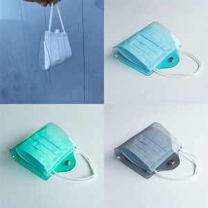 Wholesale bendable plastic resale online - Mask Clip Storage Clips Colour Folder Case Face Masks Holder Plastic Blue Red Black With Button Bendable Portable Dustproof yya F2