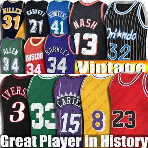 Wholesale blue rays for sale - Group buy Vintage Vince Allen Carter Iverson Jersey Black Mamba Steve Hakeem Nash Olajuwon Jerseys Ray Garnet Allen Miller Hill Rodman Malone McGrady