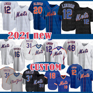 CUSTOM 20 Pete Alonso 2020 Baseball Jersey Darryl Strawberr Piazza Jacob deGrom Noah Syndergaard Michael Conforto Keith Hernandez Gooden