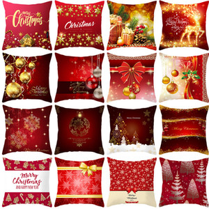 Wholesale christmas bed for sale - Group buy 2020 Red Series Style Pillowcase Peach Leather Office Indoor Home Bed Pillow Cover Sofa Cover Christmas Pillowcase cm T3I51290