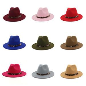 Leopard Top Hat Jazz Formal Hats wide Brim Cap Men Women Panama cap Felt Fedora caps Lady Man Woman Trilby Chapeau Fashion Accessories NEW