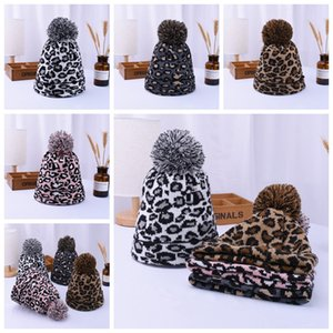 Women Winter Leopard Knitted Hats Fashion Pom Pom Beanies Warm Wool Knitted Has Bonnet Pom Beanie Caps Party Hats Supplies 4styles RRA3802